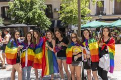 Madrid, Spain; July 06, 2019: Group of girls celebrating gay pride day stock photo