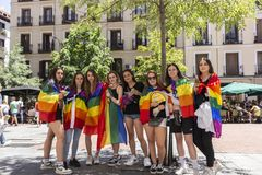 Madrid, Spain; July 06, 2019: Group of girls celebrating gay pride day royalty free stock image