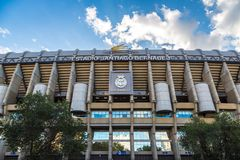 Santiago Bernabeu Stadium. MADRID, SPAIN - JULY 25, 2017: Santiago Bernabeu Stadium of Real Madrid in Madrid, Spain in a beautiful summer day royalty free stock photo