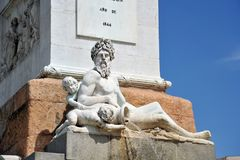 Statue of Neptune in the fountain of Plaza de Oriente in Madrid. Stock Images