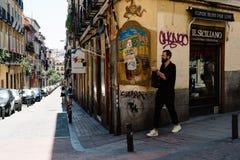 Street scene in Malasana district in Madrid Stock Image