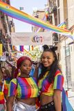 Madrid, Spain; July 06, 2019: Young women during the celebrations of gay pride day royalty free stock photos