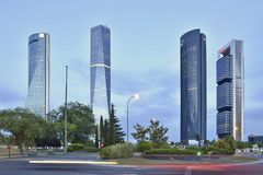 Four Towers modern office skyscrapers in Madrid Spain stock photography