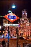 MADRID SPAIN - JUNE 23, 2015: BANCO DE ESPANA Metro station Stock Photography