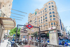 MADRID SPAIN - JUNE 23, 2015: Gran Via Metro station Stock Photos