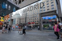 Madrid, Spain. June 2019: Huawei Flagship store in gran via. Madrid, Spain. June 2019: Huawei will open its biggest flagship store in Europe this year on the stock images
