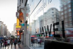 Madrid, Spain. June 2019: Huawei Flagship store in gran via. Madrid, Spain. June 2019: Huawei will open its biggest flagship store in Europe this year on the stock photography