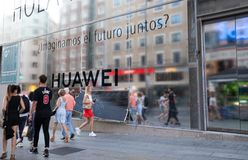 Madrid, Spain. June 2019: Huawei Flagship store in gran via. Madrid, Spain. June 2019: Huawei will open its biggest flagship store in Europe this year on the stock photos