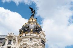 Metropolis Building in Madrid. Madrid, Spain - June 2, 2018: Low angle view of Metropolis Building against blue sky royalty free stock photo