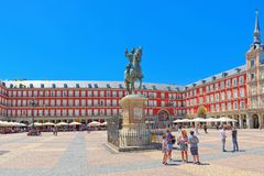 Plaza Mayor English- Main Square with tourists and people,  w Stock Photos