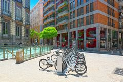 Square Plaza Ramales of Madrid in the downtown with bicycles in. Madrid, Spain - June 05, 2017 : Square Plaza Ramales of Madrid in the downtown with bicycles in stock photo