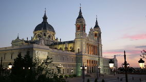 Madrid, Spain at La Almudena Cathedral and the Royal Palace. stock video