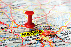 Madrid  ,Spain map. Close up of Madrid  ,Spain map and red pin - Travel concept Stock Images
