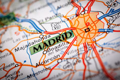 Madrid, Spain. Map Photography: Madrid City on a Road Map Stock Photography