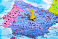 Madrid Spain map. Madrid in Spain pinned on colorful political map of Europe. Geopolitical school atlas. Tilt shift effect Stock Photos