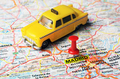 Madrid  Spain map taxi Stock Photography