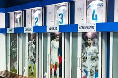 Cloakroom for team players of the Royal Stadium of the Real Madrid Football Club . MADRID, SPAIN - 25 MARCH, 2018: Cloakroom for team players of the Royal stock image