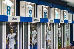 Cloakroom for team players of the Royal Stadium of the Real Madrid Football Club . MADRID, SPAIN - 25 MARCH, 2018: Cloakroom for team players of the Royal stock images