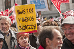 Demonstrators in Madrid with placard  and flags. Stock Images
