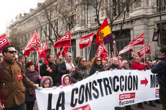 Madrid demonstration passing the Bank of Spain. Royalty Free Stock Photos