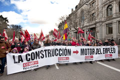 Madrid demonstration passing the Bank of Spain. Royalty Free Stock Photography