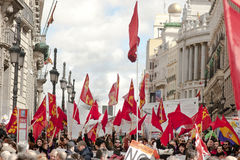 Communist flags in the street Alcala, Madrid Stock Photo