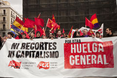 Communist demonstrators in Madrid Stock Photos