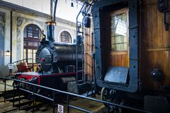 Interior carriages of the train compartment in the museum of the railway in Madrid. MADRID, SPAIN - 27 MARCH, 2018: Interior carriages of the train compartment royalty free stock photography