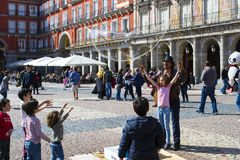 The most popular square of the city visited by tourists and guests of Madrid Plaza Mayor Royalty Free Stock Photography