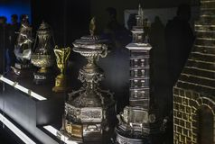The Museum of the Real Madrid Football Club cups and awards the club. Stock Photo