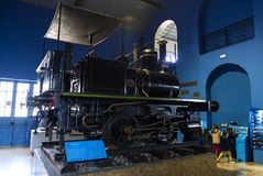 Museum of trains Madrid exposition of railway equipment service equipment and history of development. MADRID, SPAIN - 27 MARCH, 2018: Museum of trains Madrid stock images