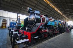 Museum of trains Madrid exposition of railway equipment service equipment and history of development. MADRID, SPAIN - 27 MARCH, 2018: Museum of trains Madrid stock photography