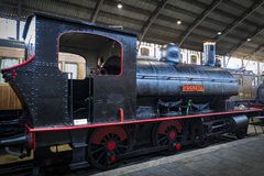 Museum of trains Madrid exposition of railway equipment service equipment and history of development. MADRID, SPAIN - 27 MARCH, 2018: Museum of trains Madrid royalty free stock photography