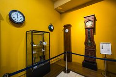 Museum of trains Madrid exposition of railway equipment service equipment and history of development. MADRID, SPAIN - 27 MARCH, 2018: Museum of trains Madrid stock image