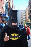 Madrid, Spain, March 2nd 2019: Carnival parade, Man disguised as superhero posing for the camera royalty free stock images