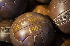 Official clothing store and sports attributes for fans Real Madrid Football Club. MADRID, SPAIN - 25 MARCH, 2018: Official clothing store and sports attributes royalty free stock photography