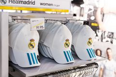 Official clothing store and sports attributes for fans Real Madrid Football Club royalty free stock photos