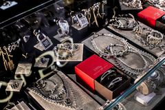 The store of the Spanish firm of jewelry and costume jewelry UNOde50 on the central square of the capital. stock photos