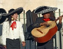 Street musicians performing in Madrid, Spain royalty free stock image