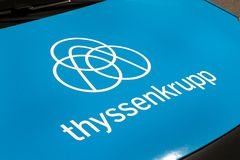 Thyssenkrupp  logo on thyssenkrupp  van. MADRID, SPAIN - MARCH 23, 2019. thyssenkrupp  logo on thyssenkrupp  van. thyssenkrupp  is a german company focus on stock images
