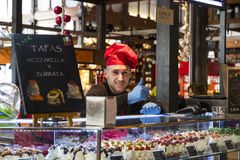 The tourist attraction of the city market is San Miguel counters with popular Spanish food. MADRID, SPAIN - 26 MARCH, 2018: The tourist attraction of the city royalty free stock photos