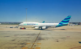 MADRID, SPAIN - MAY 28, 2014: Airplane ready to depart Stock Photo