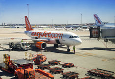 MADRID, SPAIN - MAY 28, 2014: Airplane ready to depart Stock Photography