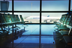MADRID, SPAIN - MAY 28, 2014: Airplane ready to depart Royalty Free Stock Photo