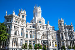 Madrid,Spain-May 27,2015: Cibeles Palace and fountain at the Pla Stock Photography