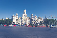 Madrid,Spain-May 27,2015: Cibeles Palace and fountain at the Pla Royalty Free Stock Photos