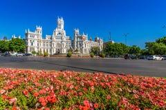 Madrid,Spain-May 27,2015: Cibeles Palace and fountain at the Pla Royalty Free Stock Photography