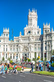 Madrid,Spain-May 27,2015: Cibeles Palace and fountain at the Pla Stock Images