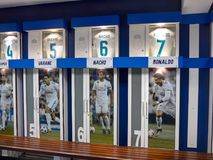Cristiano Ronaldo in Real Madrid Stadium dressing room. MADRID, SPAIN - May, 2018: dressing room on the Santiago Bernabeu stadium for Real Madrid soccer players stock images