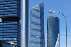 Four modern skyscrapers in the Cuatro Torres Business Area. Crystal, Space, Pwc and CEPSA Towers in Madrid, Spain stock photos